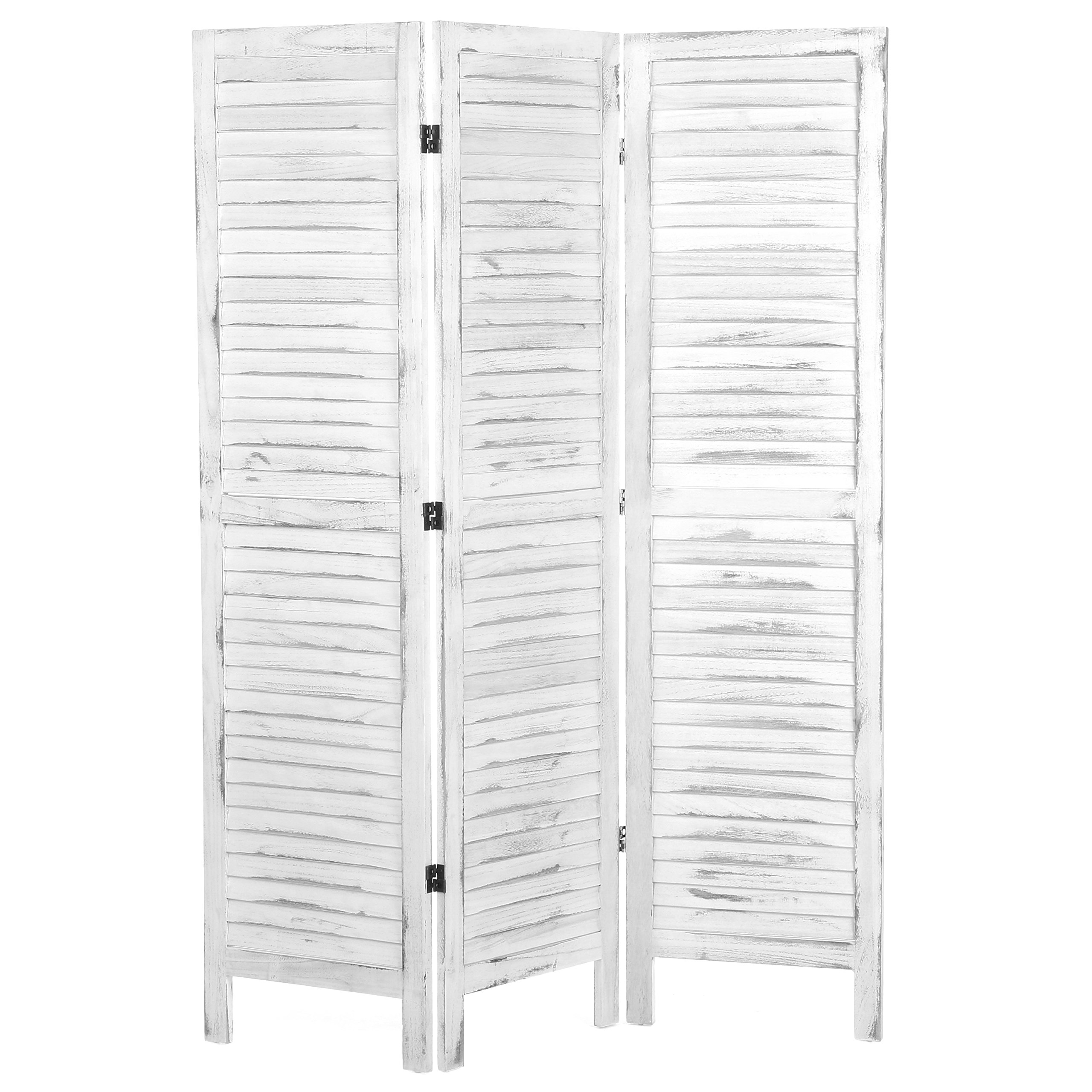 MyGift Whitewashed Wood 3 Panel Screen, Folding Louvered Room Divider by MyGift