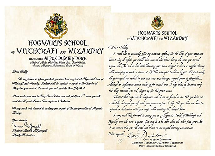 Personalized Harry Potter Acceptance Letter With Apology For Late Delivery School Of Witchcraft And Wizardry
