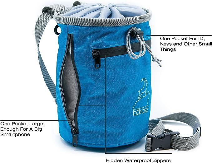 b:kazz Bolsa de tiza con cinturón para escalada, gimnasia, levantamiento de pesas, con silbato de emergencia y soporte para botellas