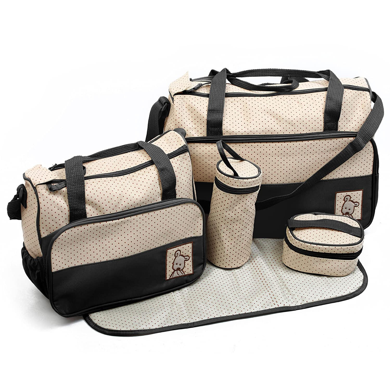 just4baby Black 5pcs Baby Nappy Changing Bag Set Diaper Bags Changing Bags Set Baby Kingdom