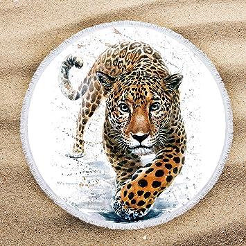 ARIGHTEX Toalla de playa de leopardo de nieve, diseño de animales salvajes, toallas de playa para niños con flecos: Amazon.es: Hogar