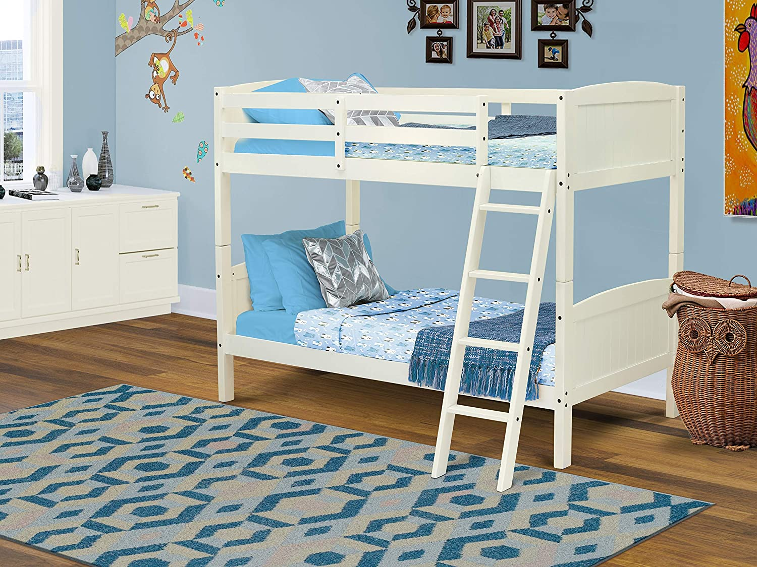 East West Furniture AYB-05-T Bunk Beds, Linen White