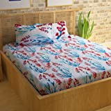 Bedspun Flora Collection Premium Flower Print 120 TC Cotton Double Bedsheet with 2 Pillow Covers - Floral, White
