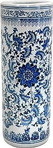 "Oriental Furniture 24"" Floral Blue & White Porcelain Umbrella Stand"