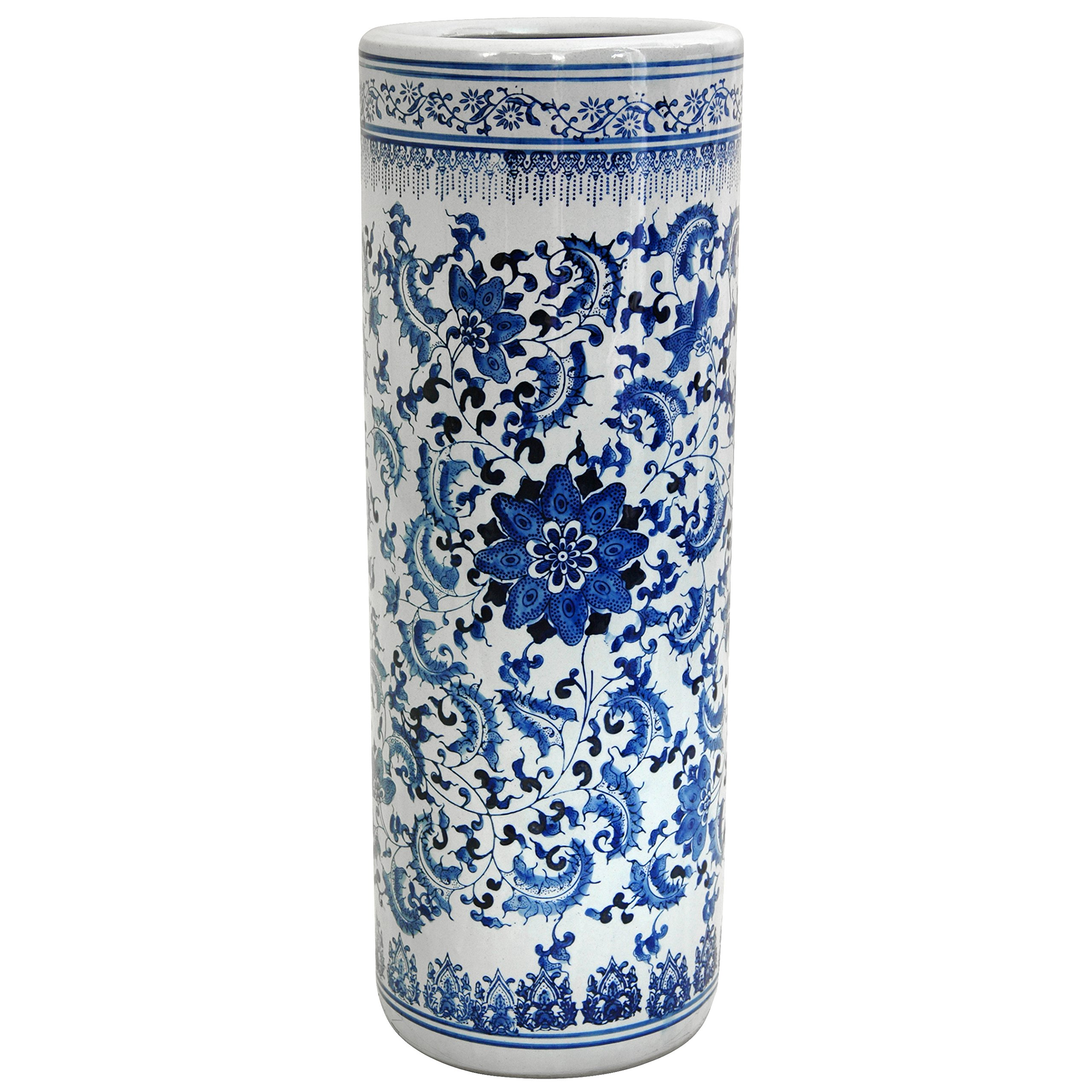 Oriental Furniture 24'' Floral Blue & White Porcelain Umbrella Stand by ORIENTAL Furniture
