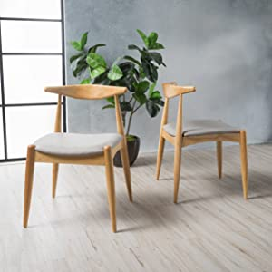 Christopher Knight Home Francie Beige Fabric with Oak Finish Dining Chairs (Set of 2)