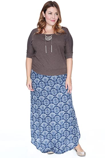 348c8ee2e9 Grayson Shop Plus Size Baroque Maxi Skirt at Amazon Women's Clothing store: