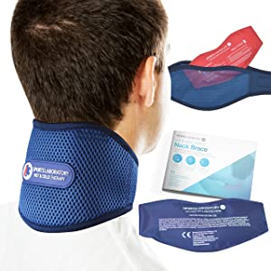 Sports Laboratory Neck Support Brace PRO+ for Neck Pain with Integrated Hot & Cold Therapy Pack | Adjustable Cervical Collar | Free Neck Pain Guide (Large (18-24 inch))