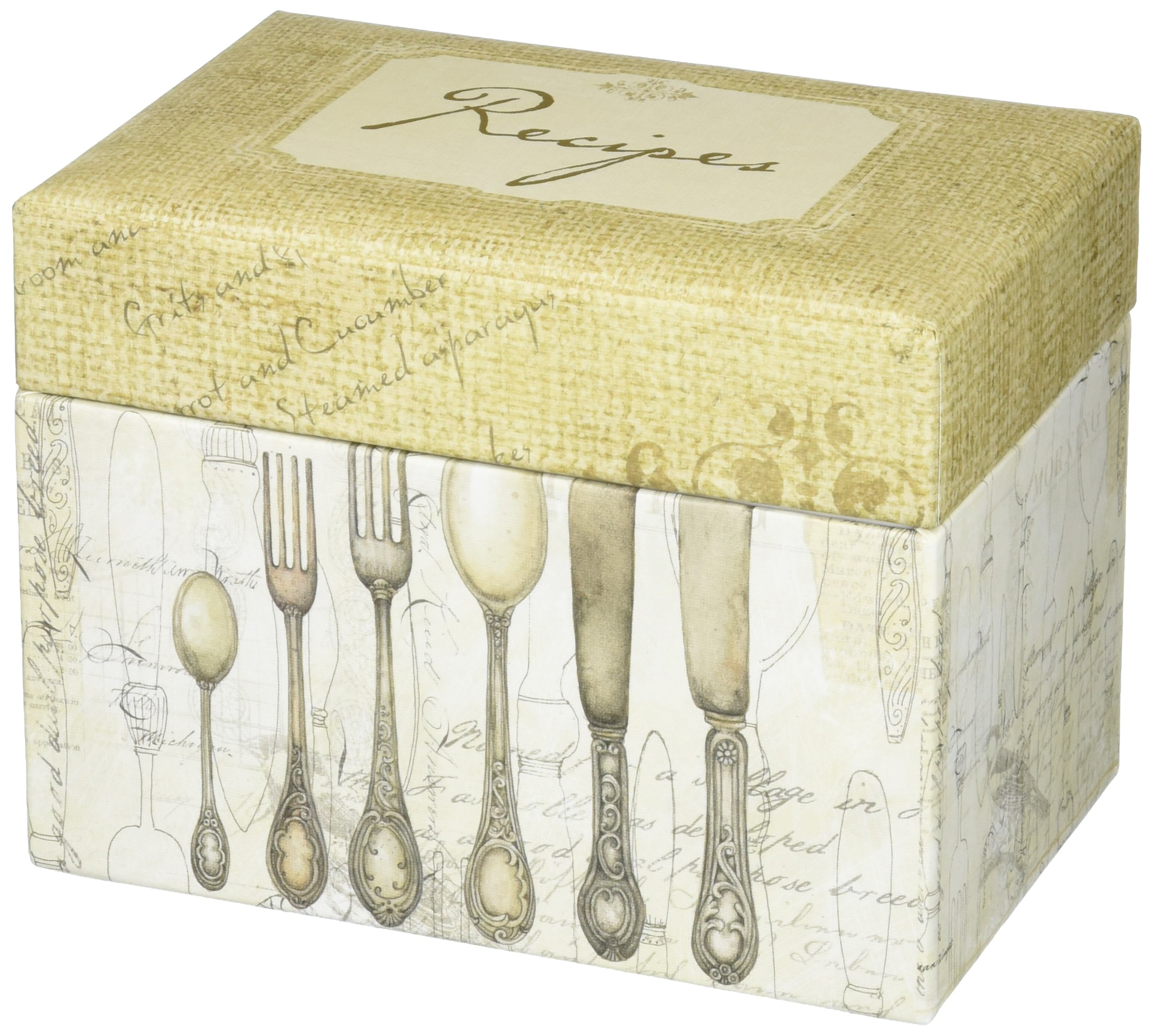 C.R. Gibson Rustic Recipe Box with Tab Dividers and Coordinating Recipe Cards, 53pc, 6.5'' W x 4.75'' H x 4.25'' D by C.R. Gibson
