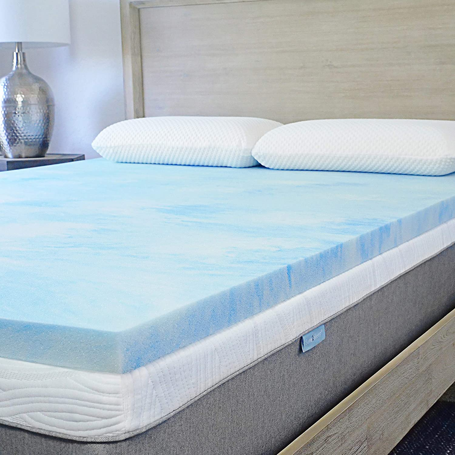 Sure2Sleep Plush 3 Pound Premium High-Density Cool Gel Swirl Memory Foam Mattress Topper Made in USA 2-Inch Twin