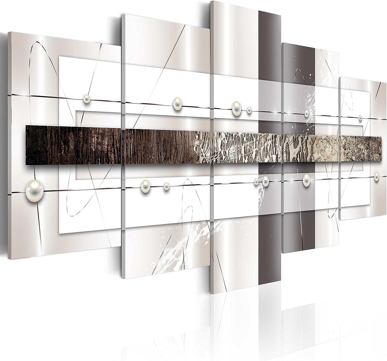 murando - Cuadro en Lienzo 200x100 - Impresión de 5 Piezas Material Tejido no Tejido Impresión Artística Imagen Gráfica Decoracion de Pared Abstracto Plata a-A-0038-b-m