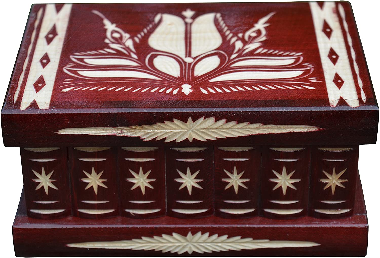 TransylvanyArt Caja Secreta de Joyería para Mujer, Compartimento Oculto, con Cerradura, Color Rojo Oscuro: Amazon.es: Hogar