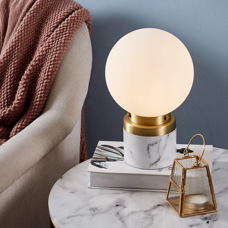 Versanora VN-L00065 Mason Table Lamps, White/Brass/White Marble Finish