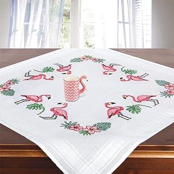 Juego de bordado FLAMENCOS, kit de bordado con plantilla para adultos, mantel bordado en punto de cruz: Amazon.es: Juguetes y juegos