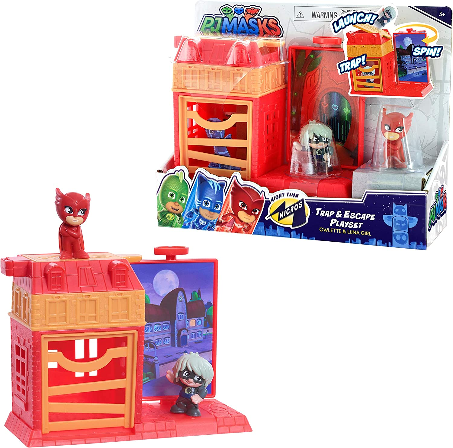 PJ Masks Nighttime Micros Trap & Escape Playset, Owlette vs. Luna Girl