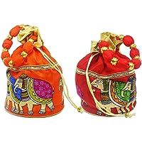KetKraft™ Designer Polti Ethnic Embroidery Clutch Silk Potli Batwa Pouch Bag Women's/Girls's Handbag for Party, Casual, Bridal Set of 2 Colour:Multi-Coloured