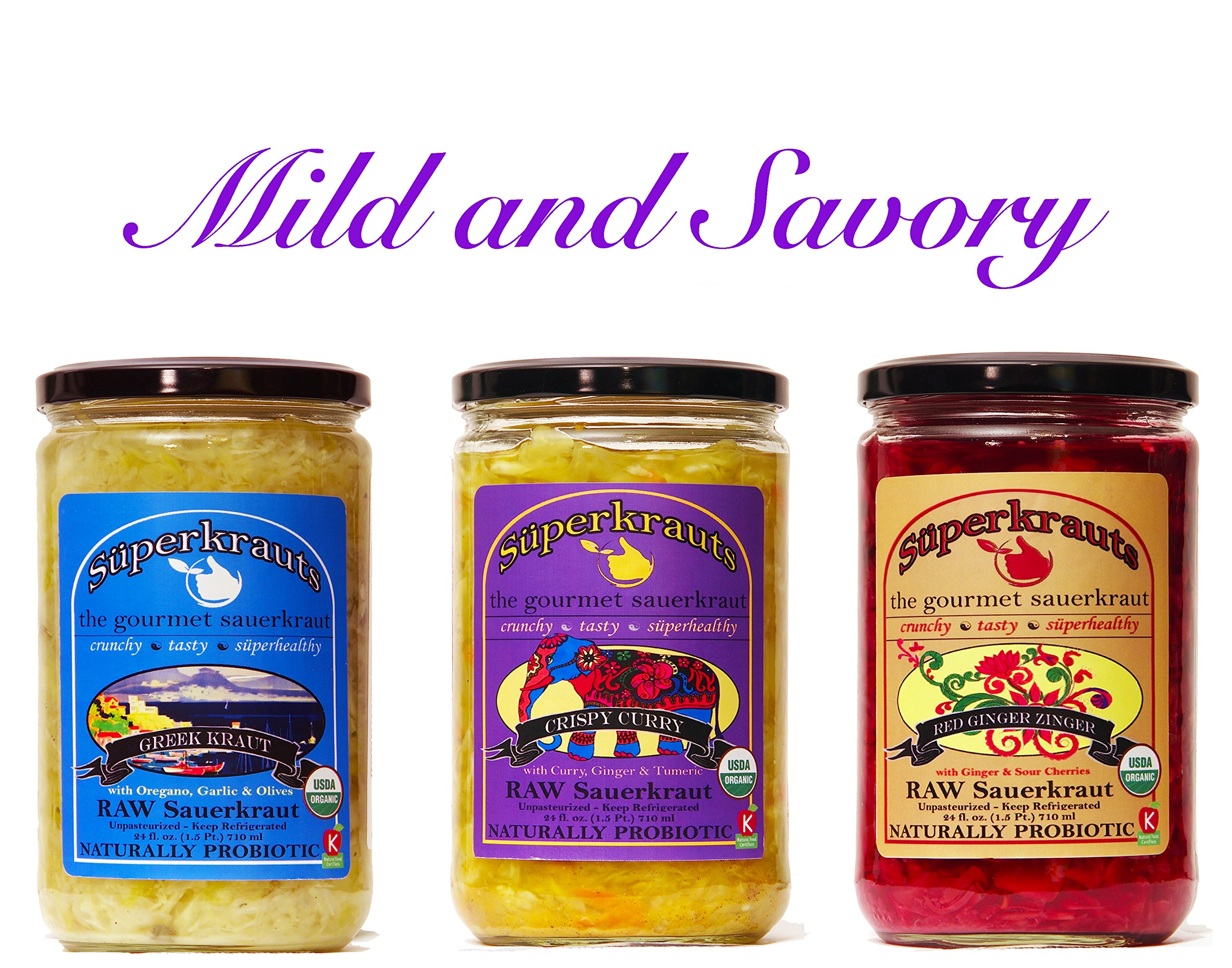 Mild and savory combo-pack: raw fermented sauerkraut, organic, probiotic, kosher and unpasteurized No shipping charges with this combo pack.