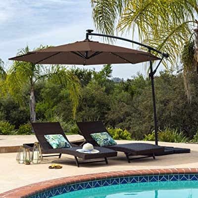 Best Choice Products 10ft Solar LED Offset Patio Umbrella w/Easy Tilt Adjustment - Brown