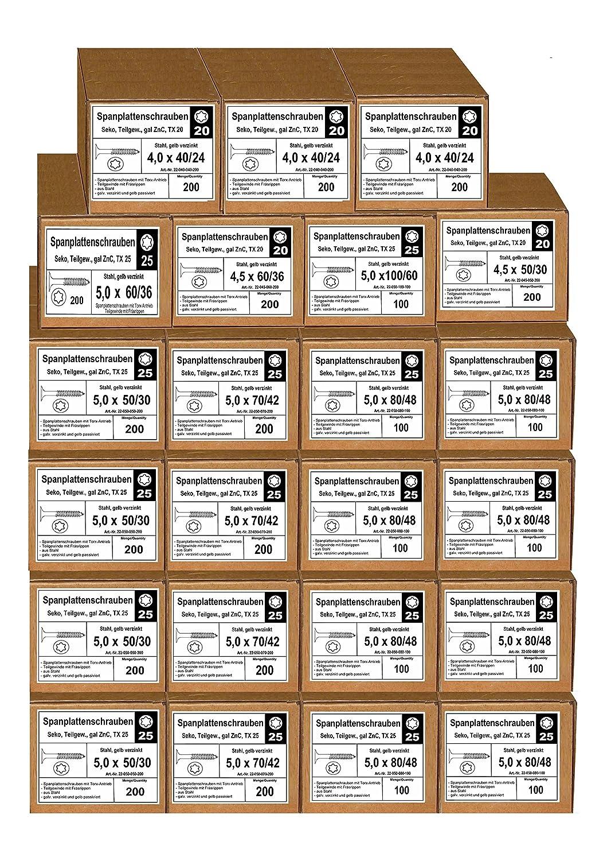 verzinkt 3 x 30 bis 5 x 120 Schrauben 20 Pkt TORX Spanplattenschrauben Holzschrauben