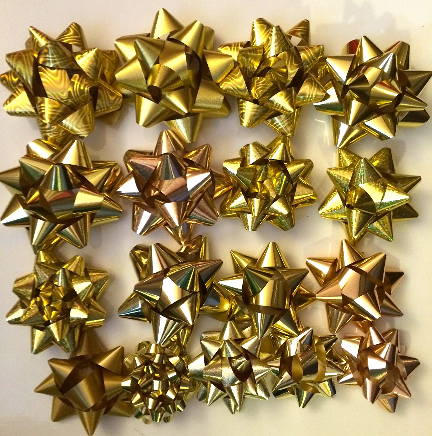Gift Bows Luxury Metallic SelfAdhesive Silver Gold Blue Size Variations