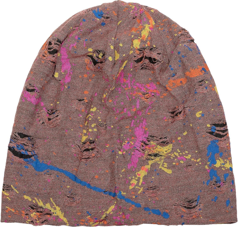 styleBREAKER Gorro Beanie con Motivo de Manchas de Pintura Estilo /«Splat/» en Apariencia desgastada Vintage Beanie Largo Slouch Unisex 04024118