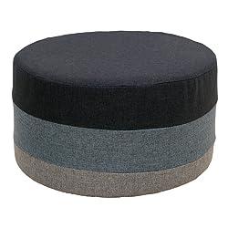 Rebecca SRL Repose-Pieds Pouf Plat Tissu Rond Gris Multicolore Maison Chambre à Coucher Salon Sejour (Cod. RE4542)