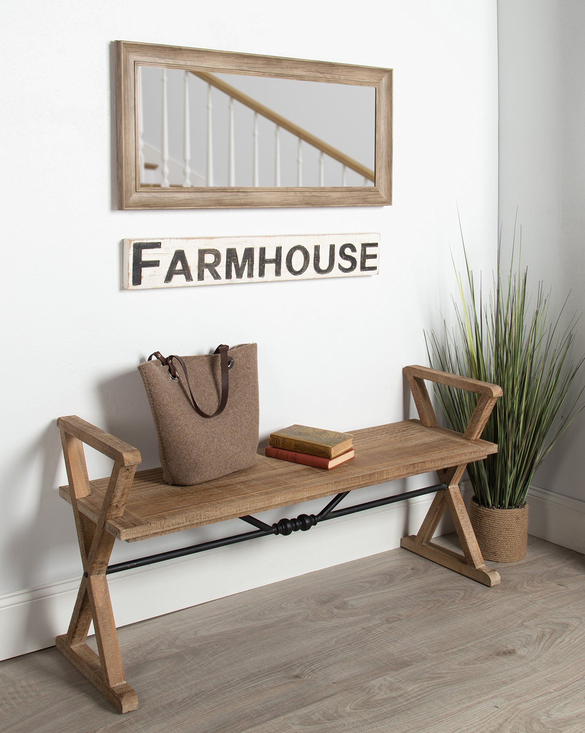 Kate and Laurel Travere Wood Bench, Rustic Finish with Ornate Black Painted Metal Support Bar by Kate and Laurel (Image #5)