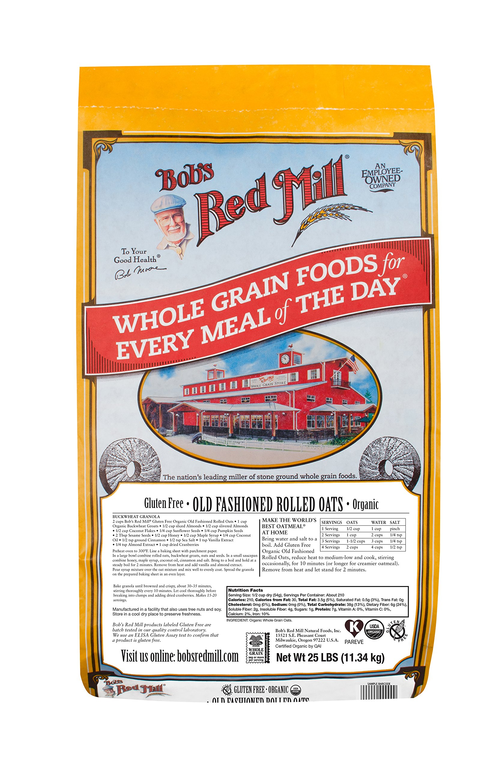 Bob's Red Mill Gluten Free Organic Old Fashioned Rolled Oats, 25 Pound by Bob's Red Mill