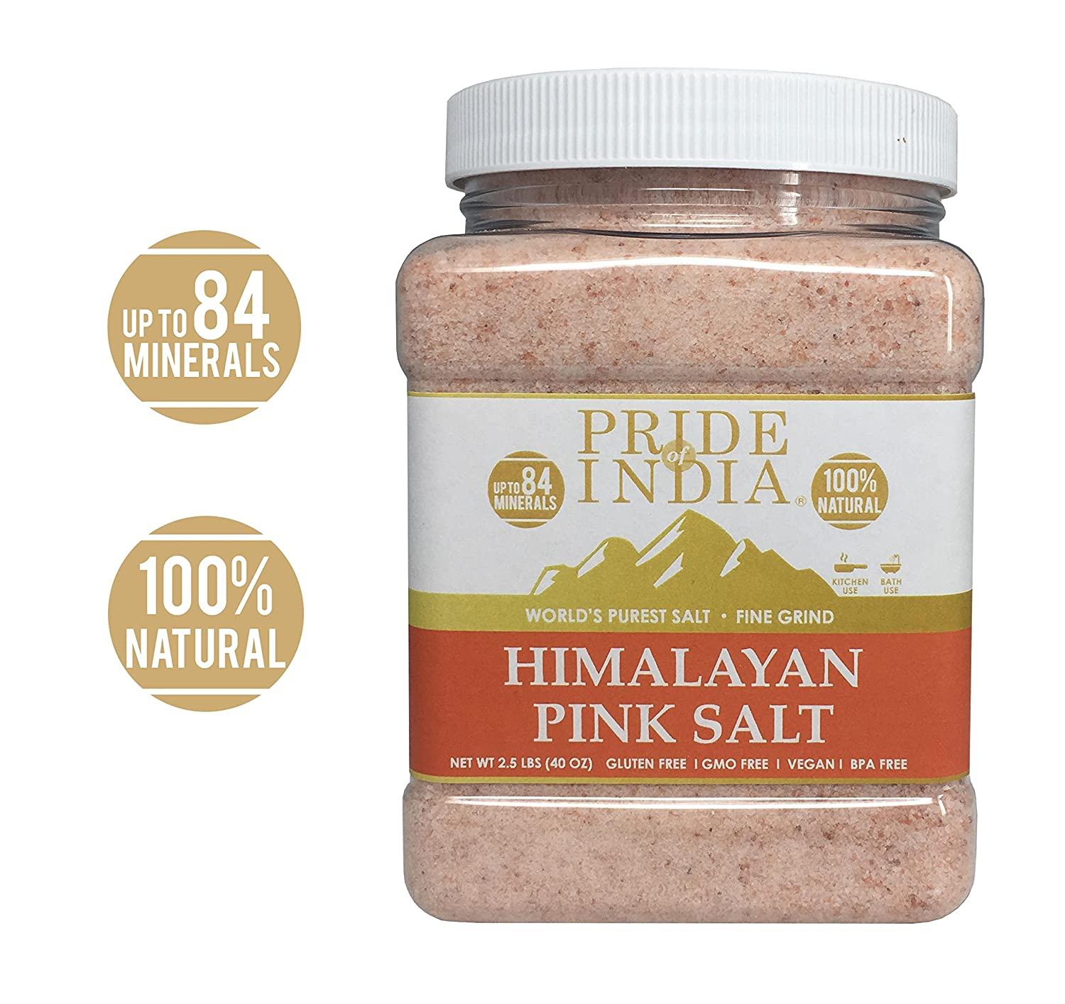 Pride Of India - Pure Himalayan Pink Salt - Enriched w/ 84+ Natural Minerals, Fine Grind 2.5 Pound