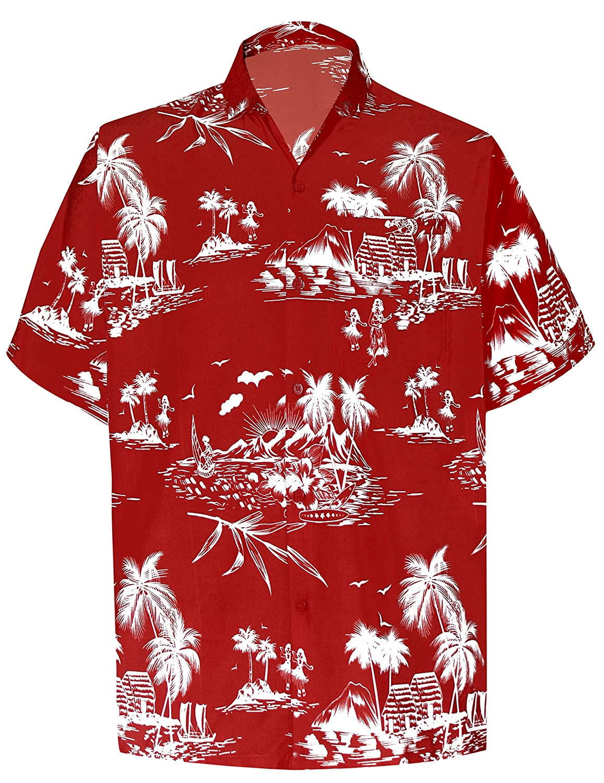 TALLA XS - Pecho Contorno (in cms) : 91 - 96. LA LEELA | Funky Camisa Hawaiana | Señores | XS-7XL | Manga Corta | Bolsillo Delantero | impresión De Hawaii | Playa Playa Fiestas, Verano y Vacaciones 1911