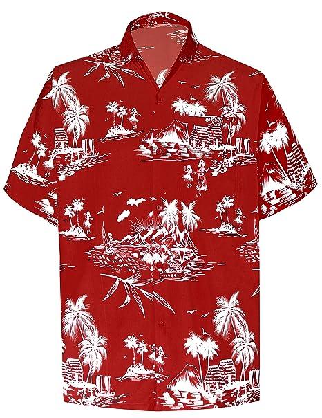 "e802a6c7 LA LEELA Likre Men's Hawaiian Shirt Red 518 X-Small | Chest 36"" -"