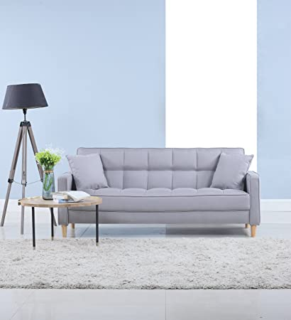 Modern Linen Fabric Tufted Small Space Living Room Sofa Couch (Light Grey)