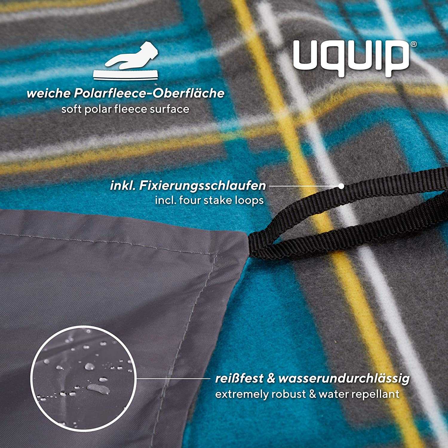 Uquip Scotty Outdoor Picnic Blanket – Different Sizes – Blue Yellow