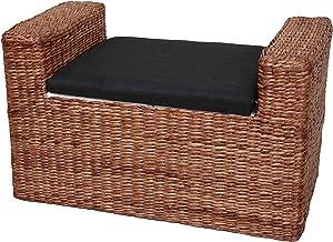 Oriental Furniture Rush Grass Storage Bench - Dark Brown
