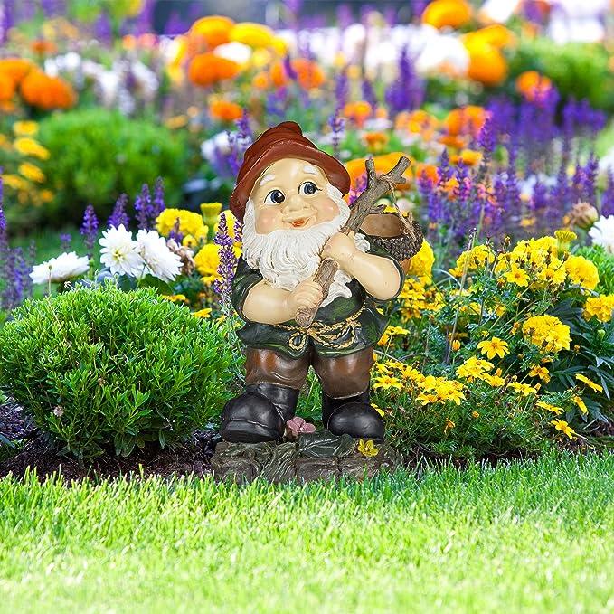 Relaxdays Gnomo de jardín con cesto de Bellota, Resistente a heladas, Diseño clásico, Estatua Decorativa: Amazon.es: Jardín