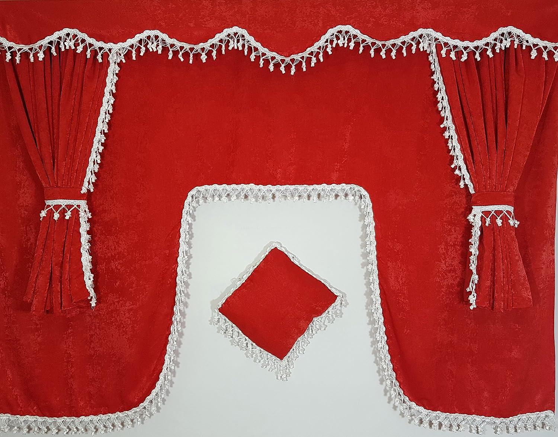 Juego de 5 piezas rojo cortinas con borlas de color blanco Universal tamañ o todos los modelos de camió n cabina accesorios decoració n tejido de felpa Krisinox