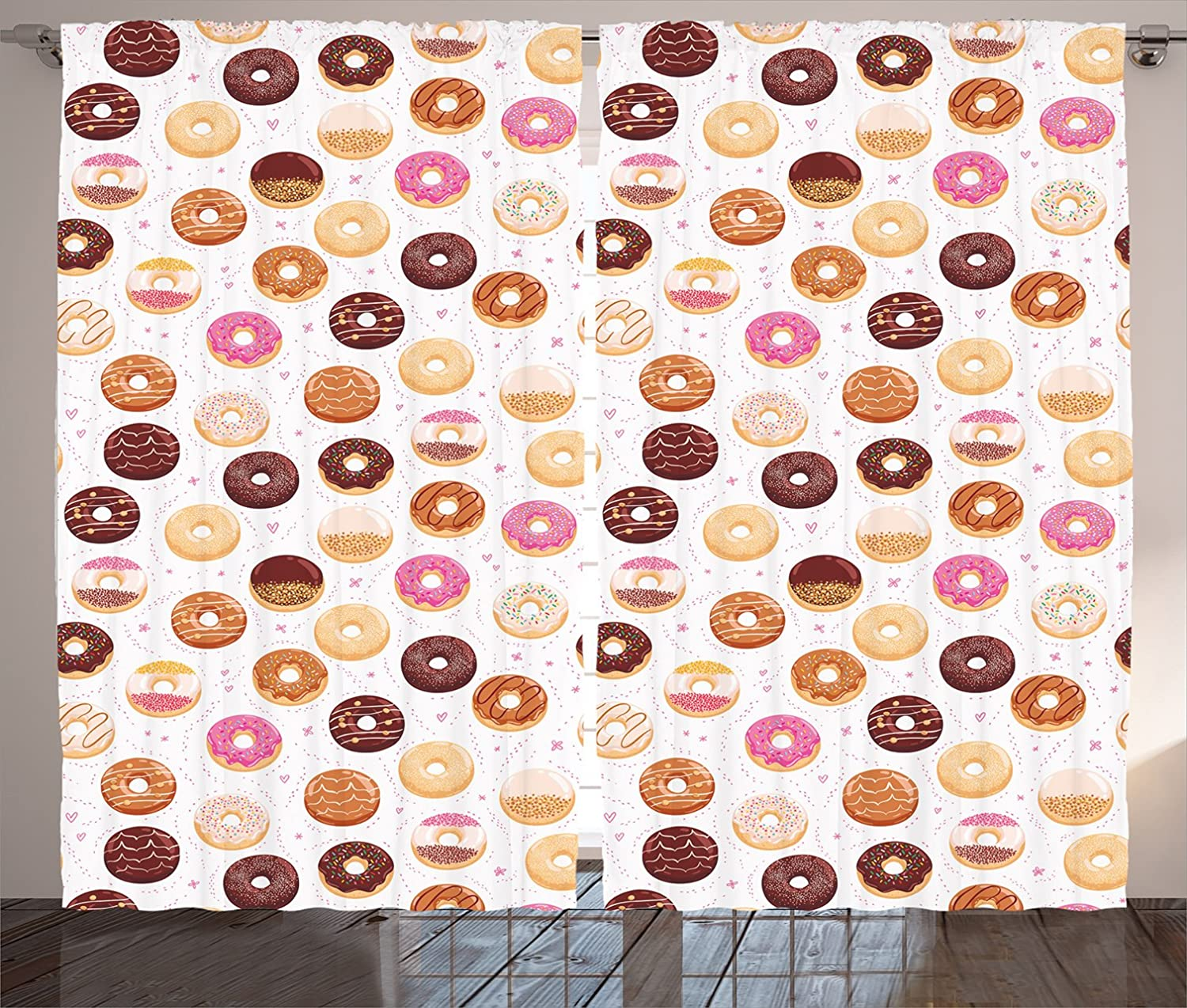 Ambesonne Food Curtains, Donuts and Little Hearts Pattern Colorful Yummy Delicious Desserts Print, Living Room Bedroom Window Drapes 2 Panel Set, 108