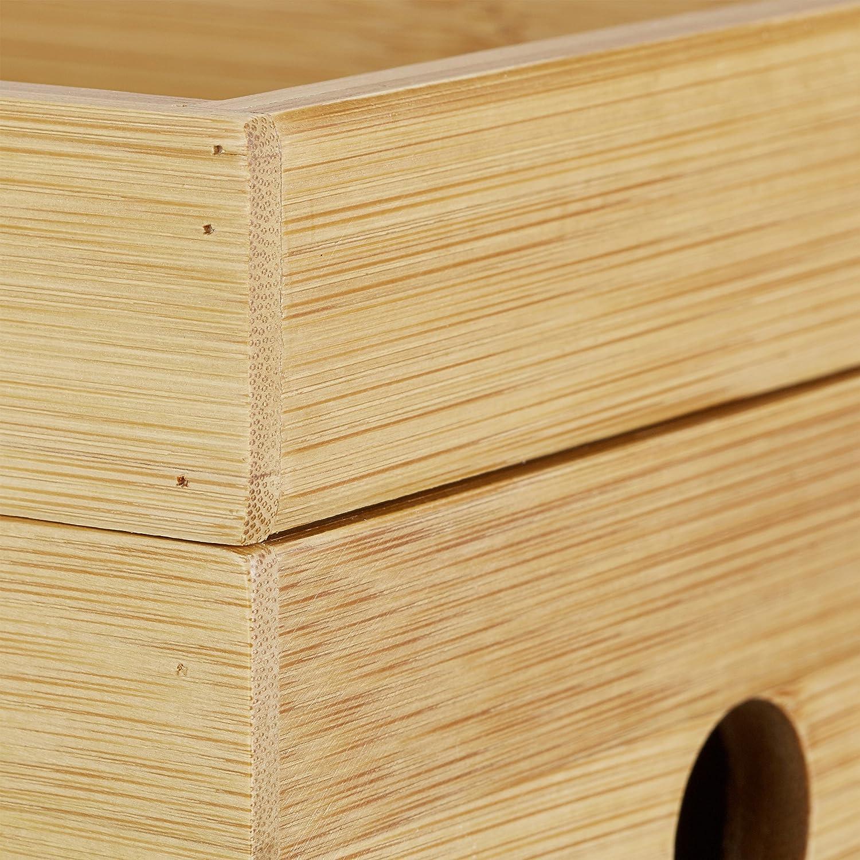 Relaxdays Scatola porta cavi in bamb/ù