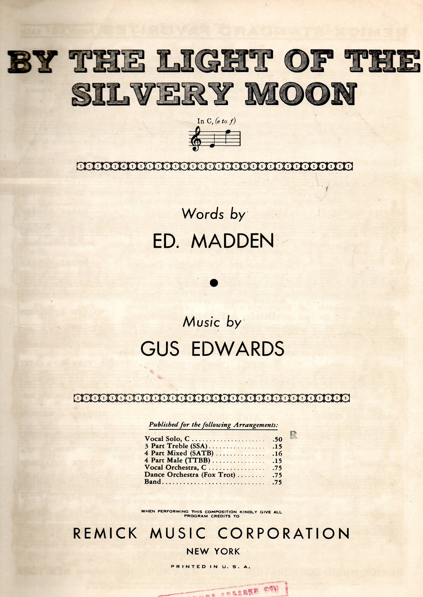 Vintage Sheet Music BY THE LIGHT OF THE SILVERY MOON IN C E TO