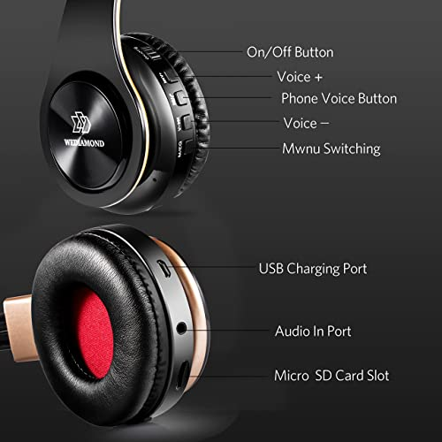 Wireless Headphones, Wediamond E1 Bluetooth Headset Stereo Foldable Sport Earphone Microphone Headset Handfree MP3 Player FM Radio Gold