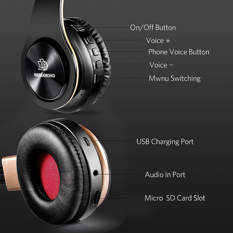 Wireless Headphones, Wediamond E1 Bluetooth Headset Stereo Foldable Sport Earphone Microphone Headset Handfree MP3 Player FM Radio Gold