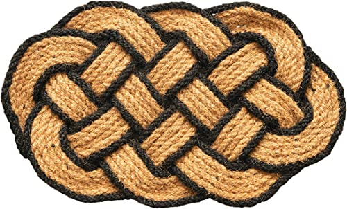 Creative Co-op Celtic Knot w Black Trim Woven Coir Doormat, Natural