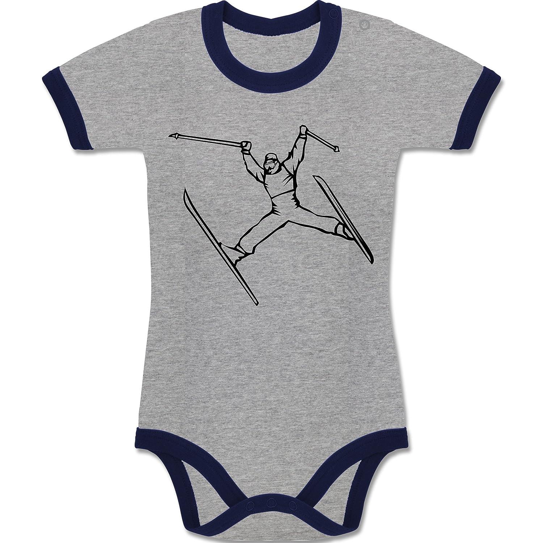 Sport Baby - Ski Jump - zweifarbiger Baby Strampler für Jungen und Mädchen
