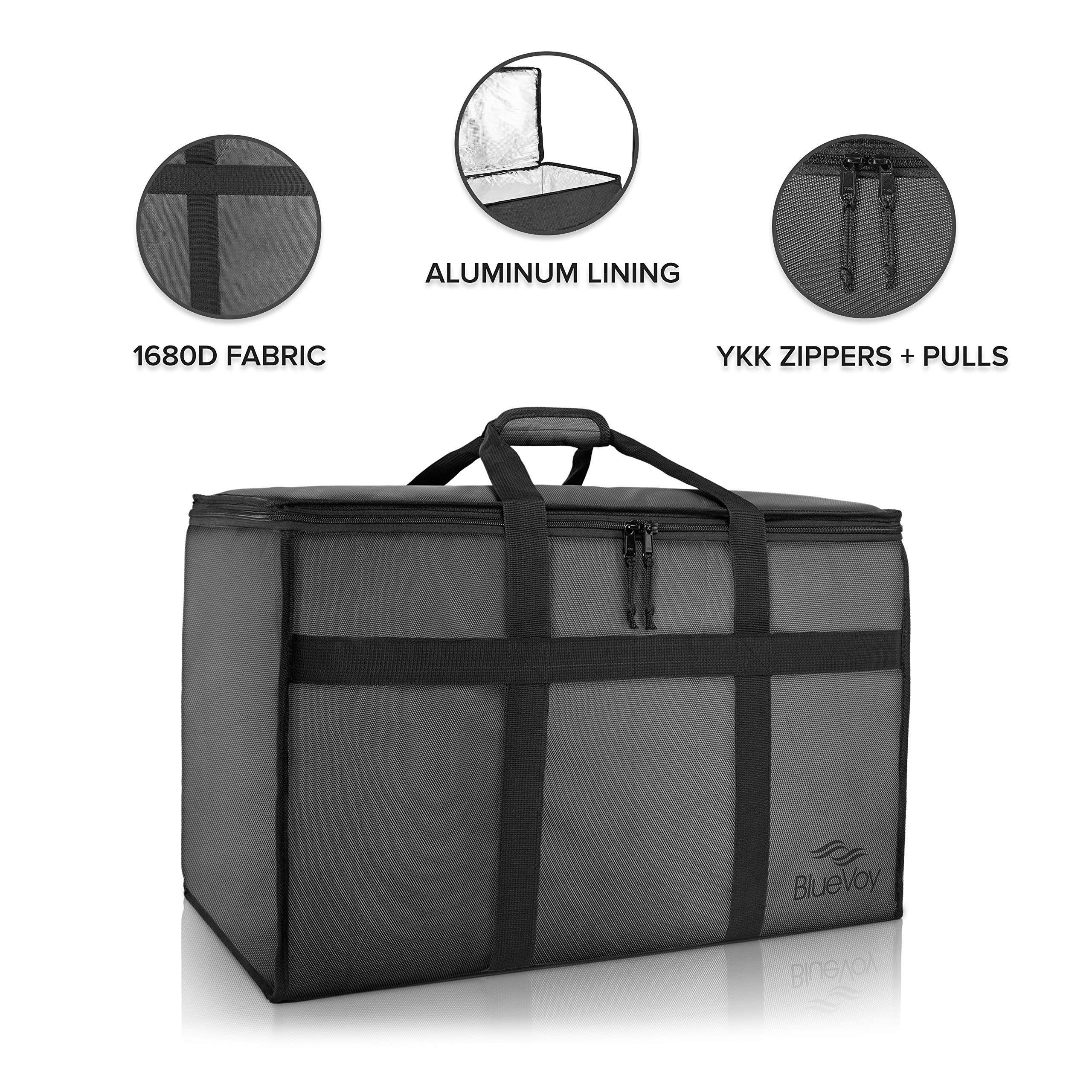 BlueVoy Insulated Food Delivery Bag – Premium Large Commercial Catering Bag for Food Transport - Hot and Cold Insulated Food Carrier with YKK No Snag Zippers – Ultra Durable 1680D Polyester Material
