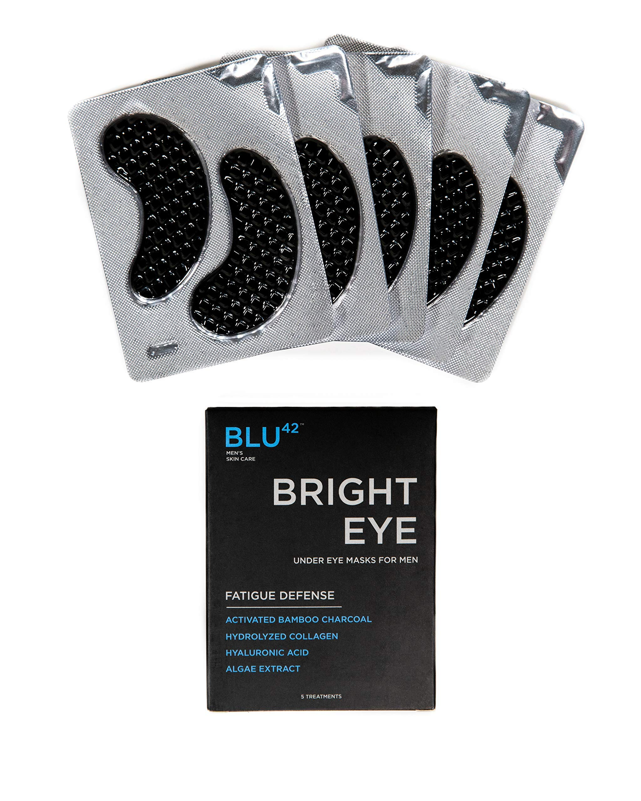 Activated Charcoal Under Eye Masks For Men by Blu42 - Bright Eye Fatigue Defense Eye Patches, Removes Dark Circles, Wrinkles, and Puffiness - Hydrating, Anti-Aging, Anti-Wrinkles - 5 Treatments by BLU42