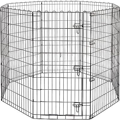 AmazonBasics - Parque de juegos y ejercicios para mascotas, paneles de valla metálica, plegable, 152,4 x 152,4 x 121,9 cm