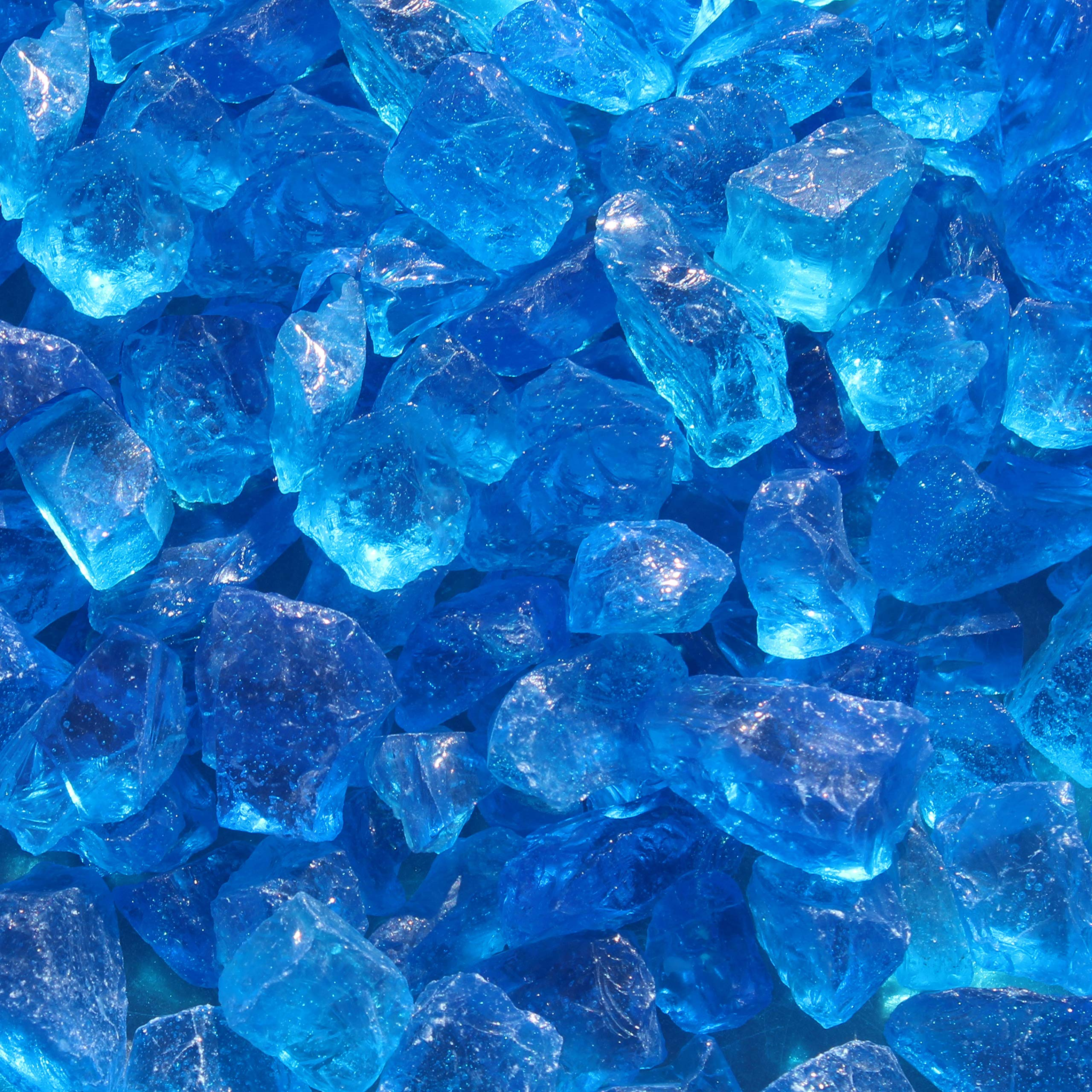 Blue Ridge Brand&Trade; Light Blue Fire Glass - 50-Pound Professional Grade Fire Pit Glass - 1/2'' Fire Glass Bulk Pack - Glass Rock Contractor Pack by Blue Ridge Brand
