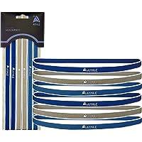 Mens & Womens Deportes Headbands: 6Thin cómodo elástico de silicona Grip Ejercicio Hair & Sweatbands para Baloncesto Fútbol Tenis Crossfit Yoga & Golf, Dark Blue, Gray, Light Blue,