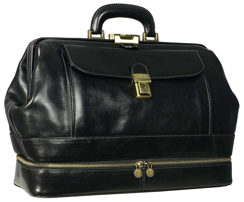 43cdb3ba37 Time Resistance Full Grain Leather Doctor Bag Medical Bag Satchel Medium  Black  Amazon.co.uk  Luggage