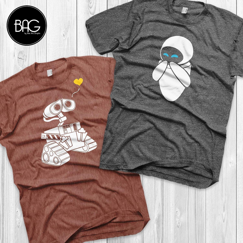 82ef5c62587a Amazon.com: Wall-e and Eve Shirts Disney Couples Shirts Wall-e Custom  Matching Shirts Couple T-shirts vacation shirts: Handmade